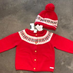 Fair Isle holiday sweater and matching hat